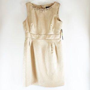Tahari NWT Champagne Gold Dress Beaded Neckline